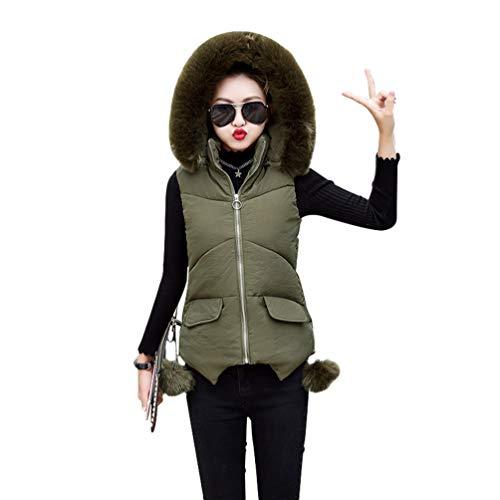 Lvguang Mujer Abrigo Chaqueta Slim Fit Espesar Pelaje Collar Parka con Capucha Sin Mangas Chaquetas Outerwear (Ejército Verde, Asia L)