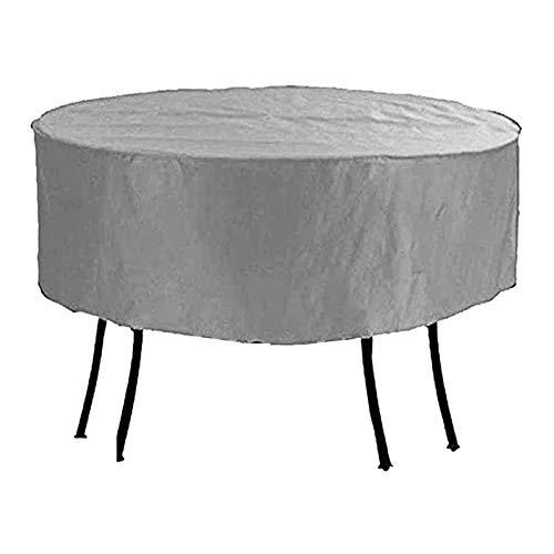 FUSHOU-Funda Protectora Muebles Jardín Antiarena, cubierta para muebles de patio, protección redonda contra el frío, tela Oxford, mesa y sillas duraderas para exteriores, lona,Gris,293x90cm
