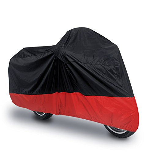 uxcell L 180T Rain Dust Motorcycle Cover BlackRed Outdoor UV Waterproof 86quot for Honda Victory Kawasaki Yamaha Suzuki Harley Davidson