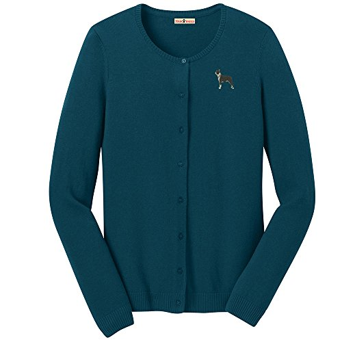YourBreed Clothing Company Boston Terrier Embroidered Ladies Cardigan Sweater