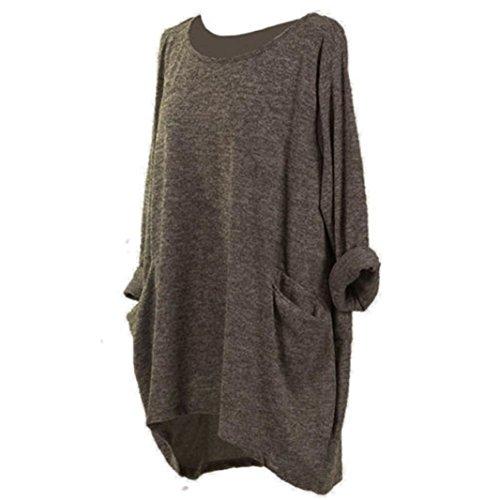 Yvelands Moda Femenina Elegante Hermoso Suelto Casual O-Cuello de Bolsillo T-Shirt Dress Túnica Tops Camisa Blusa Fiesta de la Boda, Liquidación (café, L)