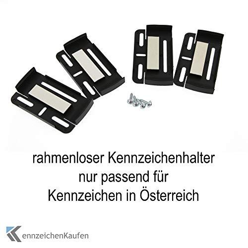 rahmenlose Kennzeichenhalter für Kennzeichen | Kennzeichentafeln in Österreich in Schwarz