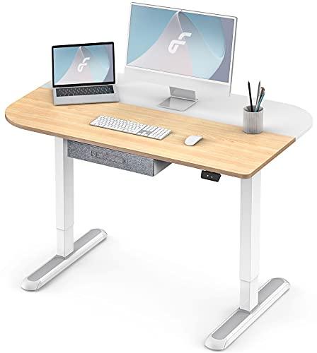 Fenge Höhenverstellbarer Schreibtisch Elektrisch mit 2-Fach-Tischplatte 110 * 70cm Ergonomischer Computertisch mit Lagerung Schubladen (weiß Rahmen und gelb Desktop)
