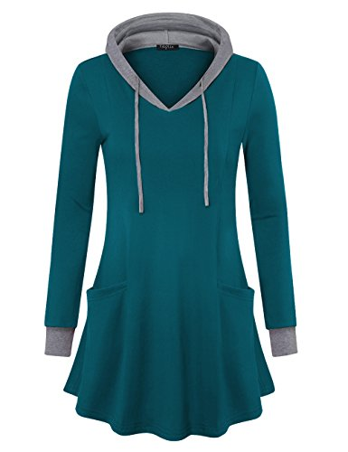 VALOLIA Sweaters for Women, Hooded Plus Size Teal Sweatshirt Long Sleeve Top Dark Cyan XX-Large