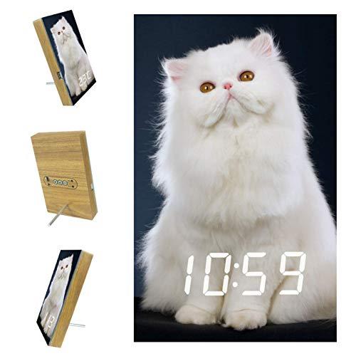 Yumansis Gatto Bianco LED Digitaler Wecker Weck-Timer Nachttisch mit USB-Ladezifferblatt-Anzeige, Schlummerfunktion, netzbetriebener , Akku inklusive, für Schlafzimmer, Büro 3.8In
