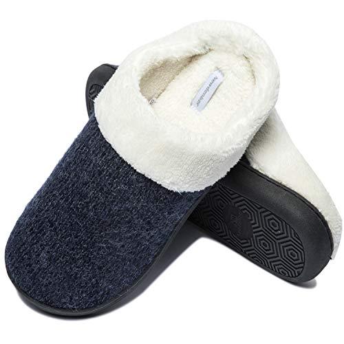 Zapatillas de Casa Invierno Hombre Slippers Comodas Antideslizantes Felpa Forrado CáLido Zapatillas Casa de Espuma Viscoelástica para Interiores y Exteriores Azul 49/50