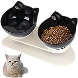 Cuencos para Gatos, 15 ° Inclinados para Gatos y Gatos, comedero para Gatos con Soporte, Cuenco de Agua para Gatos y Perros pequeños (Black-Black)