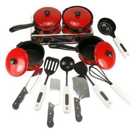 Hot 13pcs/set kids kitchen play toys Cooking Pots Children play Pans knife and fork Dishes kitchen sets by Completestore