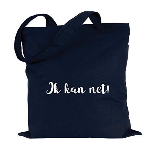 JUNIWORDS Jutebeutel, Wähle ein Motiv & Farbe, Ik kan net! (Beutel: Marine Blau, Text: Weiß)