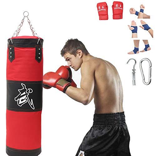 Boxsack Gefüllt Set Sandsack Punching-Bag,Vierpunkt-Stahlkette Punchingsäcke,ungefüllt 100 x 30 cm Punchingsäcke Kampfsport Punching Bag,Punch Sandsack,für Jugendliche Boxtraining Fitness