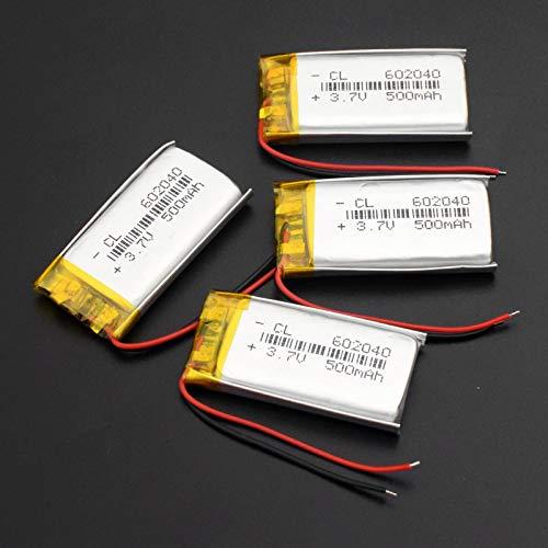 WSXYD Batería Li-Po De 602040 3.7v 500mah, Li-PolíMero Recargable del Li-Po del Litio De La Capacidad 4pieces