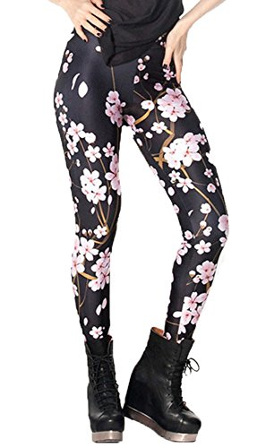 DODOING Leggings Blumenmuster, Cherry Blossom Digital Printed Tight Leggings Yoga Pants Workout Gym Fitness Sports Athletic Pants