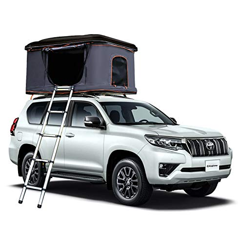 KingCamp Rooftop Tent Hard Shell for SUV Travel Pop-up Installation Tent Large Space Suitable for 2 People, with Ladder & Waterproof Hard Shell Tent Overland Roof Top Tent (Black/Grey)