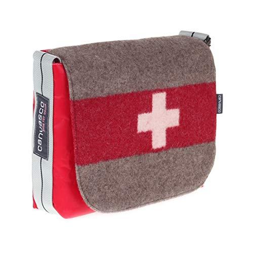 Segeltuchtasche CANVASCO Mini Suisse/Segel rot/Gurt grau-schwarz/Armeedecke horizontal