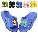 Fadezar Kids Slide Sandals Cute Beach Water Flip Flop Boys Girls Shower Pool Summer Slippers for Toddler Little Kids Blue 1-2 Big Kids