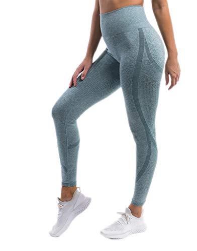 Pau1Hami1ton Talle Alto Camuflaje Sin Costura Leggins para Mujer Gimnasio Capri Mallas Pantalones de Yoga Niñas Fitness Leggings Deportivos GP-18A(Light Blue,M)