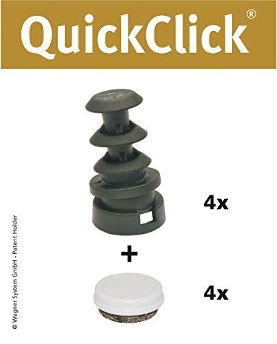 WAGNER QuickClick® Stuhlgleiter I 4er-Set Gelenkgleiter zum Einstecken in Rundrohre I - DUO - InnenDurchmesser Ø 16 mm/AußenDurchmesser Ø 20 mm - 15832200