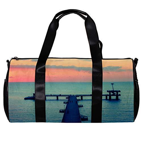 Round Gym Sports Duffel Bag With Detachable Shoulder Strap Burgas Sunset Bridge Sea Training Handbag Overnight Bag for Women And Men