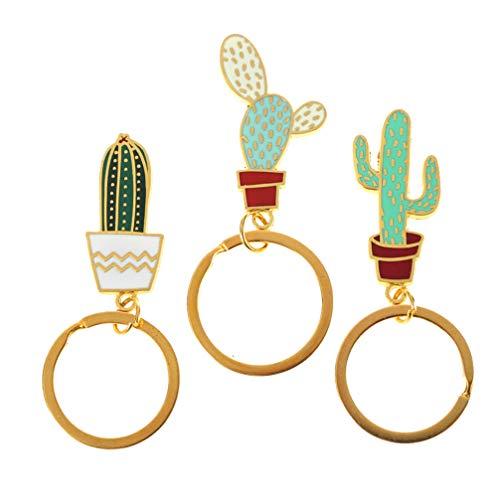 VALICLUD 3 Piezas Lindo Suculento Cactus Llavero Plantas Colgante Llaveros Esmalte Llavero para Coche Llave Monedero Mochila Encantada Regalos