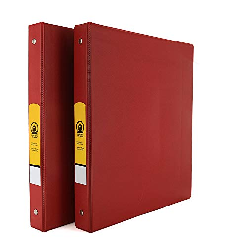 """Emraw Super 1"""" Inch 3-Ring Binder with 2 Side Pockets for Papers and Dividers - Available in Red - Great for School, Home, & Office (2-Pack)"""