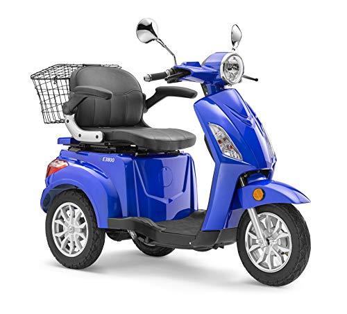 Elektroroller LuXXon E3800 - Elektro Dreirad für Senioren mit 800 Watt, max. 20 km/h, Reichweite bis zu 63 km, blau