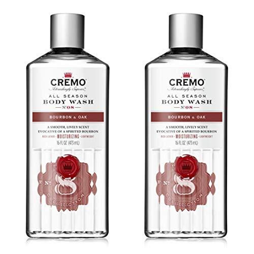 Cremo Rich-Lathering Bourbon & Oak Body Wash, A Sophisticated Blend of Distiller's Spice, Fine Bourbon and White Oak, 16 Oz (2-Pack)
