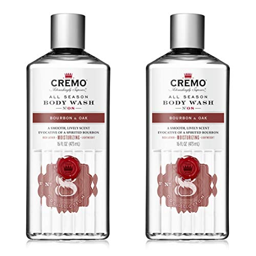 Cremo Rich-Lathering Bourbon & Oak Body Wash, A Sophisticated Blend of Distiller's Spice, Fine Bourbon and White Oak, 16 Oz (2-Pack)