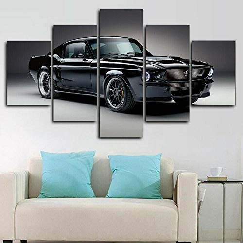 VYQDTNR Handart Cuadro en Lienzo 100x55 cm Impresión de 5 Piezas Pintura sobre Imagen Gráfica Decoracion de Pared – 1967 Mustang Charge Car Imagen de póster Arte-Marco
