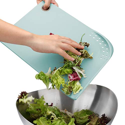 PortoFino Cut & Drain Cutting Board - Perfect for RV and Camper | 22 Draining Eyelets | Non-Slip Silicone Feet | Hanging Loop | Light Weight & Durable | BPA Free | Kitchen Accessories