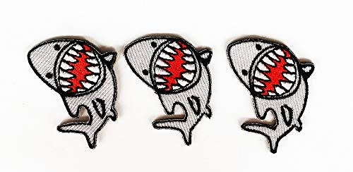 1X1.25 INCH Shark Cartoon Kid Baby Patches Fish Fishing Sea Ocean Beach Mini Set 3 Embroidered Iron On/Sew On Patch Logo for Clothes Bag T-Shirt Jeans Biker Badge Applique (Mini Fashion 007)