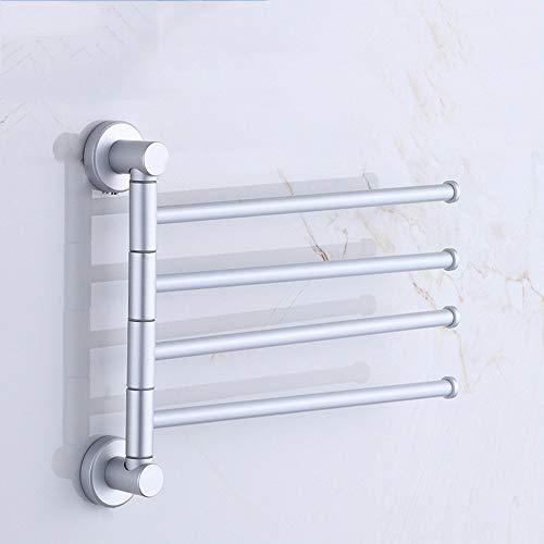 Auto adhesivo o tornillos de toallas de baño toalla Rieles de estante de aluminio del espacio giratoria de la barra de toalla de aluminio del espacio de perforación Actividad toalla de baño estante de