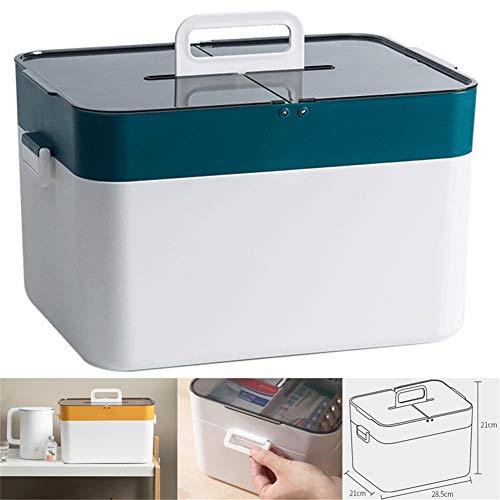 Medicijndoos, draagbare medicijnorganizer, thuisapotheek, EHBO-box, voor thuis en op vakantie, geneesmiddelendoos (kleur: groen)
