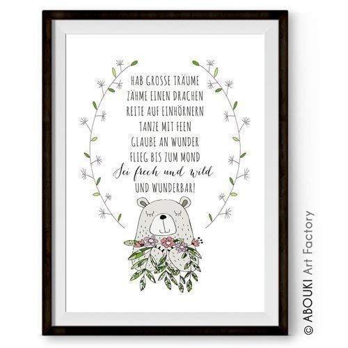 Hab grosse Träume mit Motiv Bär ABOUKI Kunstdruck - ungerahmt - Geschenk-Idee optional personalisiert mit Vornamen und Datum Taufe Taufgeschenk Geburtstag Baby Mädchen Junge Kind