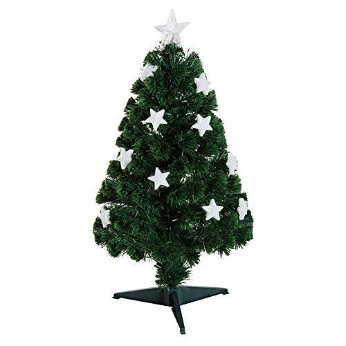 HOMCOM Árbol de Navidad 90cm Artificial Árbol de Pino Decoración Navideña con 12 LED de 3 Colores 90 Ramas Verde PVC