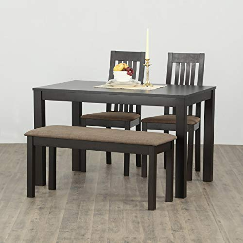 Home Centre Diana Beechwood Veneer Finish 4-Seater Dining Table with 2 Chairs and 1 Small Bench (Beige, Walnut)