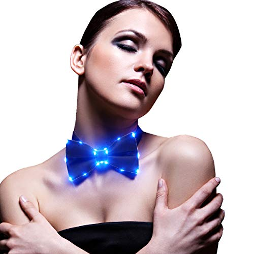 SATUMIKO Led Light Up Bow Tie Luminous Bowtie for Women&Men, Music Fesitval, Burning Man, Costume Party (Blue)