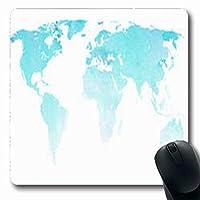 マウスパッドマップウィンターブルーワールドアジア水彩抽象アトラスアフリカ長方形7.9 X 9.5インチ長方形ゲーミングマウスパッド滑り止めマウスマット 18x22cm