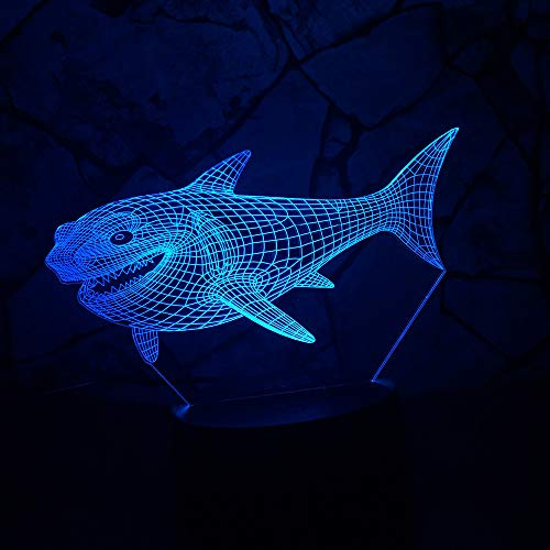 Yangll 3D Shark Night Light Optical Illusion Table Lamp Mood Touch 7 Colours for Nursery Light Party Decor Friend