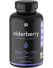 Elderberry Capsules with Vitamin D3, Zinc & Vitamin C ( 60 Veggie Capsules)_ Women & Men's Daily Herbal Supplement for Immune Support, Made from Organic Black Elderberries (Sambucus)