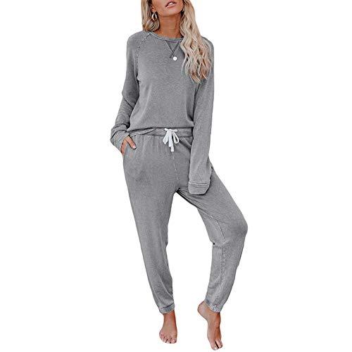 Yiyu Damen Jogginganzug 2 Teilig Sportanzug Trainingsanzug Hausanzug Langarm Schlafanzug x (Color : Gray, Size : L)