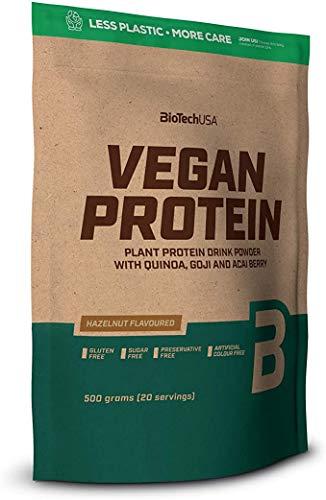 BioTechUSA Vegan Protein En polvo con sabor bebida a base de proteína vegetal, con bayas goji y acai en polvo, harina de quínoa, 500 g, Maní ⭐