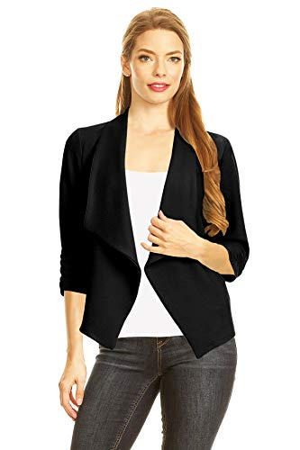 HEO CLOTHING Solid and Printed Open Blazer Cardigan Jacket/Made in USA, Hbl00002 Black, XX-Large