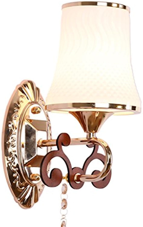 Europische Glaswand Lampe LED Schlafzimmer Nachttischlampe Wohnzimmer Gang TV Hintergrund Wand Einzelkopf Kristall Wandleuchten