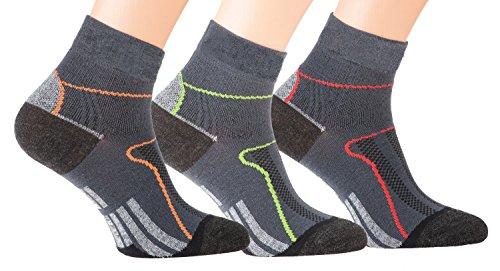 Run&Bike - 3 paia di calzini funzionali per ciclismo, corsa, fitness, colore: nero, 35-38
