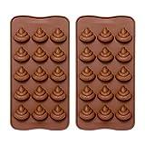 Emoji Caca molde de silicona - ComKit 15-cavity Cute Funny Emoji caca emoción Baking Maker Cubito de hielo bandeja de moldes para decoración de tartas, chocolate/dulces/pasteles/gummy/MAKING