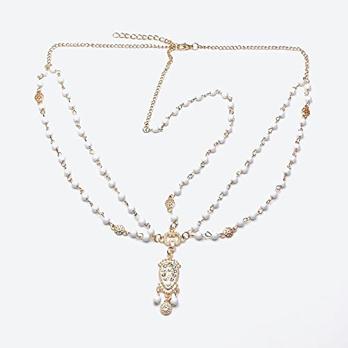Colgante de cristal con borla para novia, cadena de diamantes de imitación, para mujer, con perlas de gota de agua, para novia, color metálico: blanco