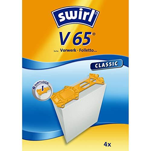 Swirl V 65 Spezialpapier Staubsaugerbeutel für Vorwerk und Foletto Staubsauger, Classic, 4 Stück