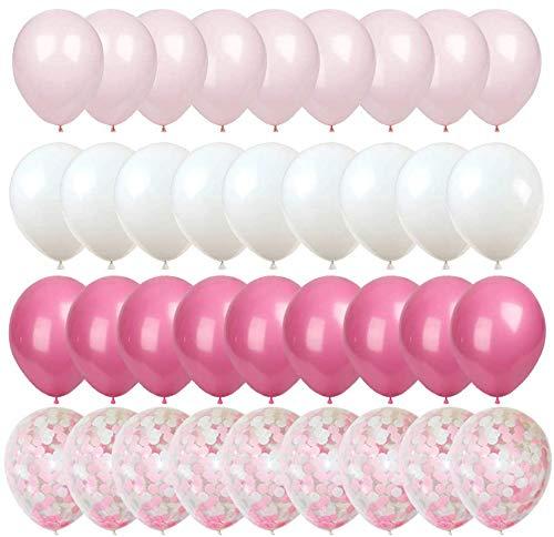 MMTX 50 Piezas Globos de Confeti Globos de látex Blancos Globos de Helio Perla para Bodas, Fiestas, Propuestas, Navidad, Reuniones, Ceremonia y Cumpleaños Decoraciones de Fiesta (Rosa-1)