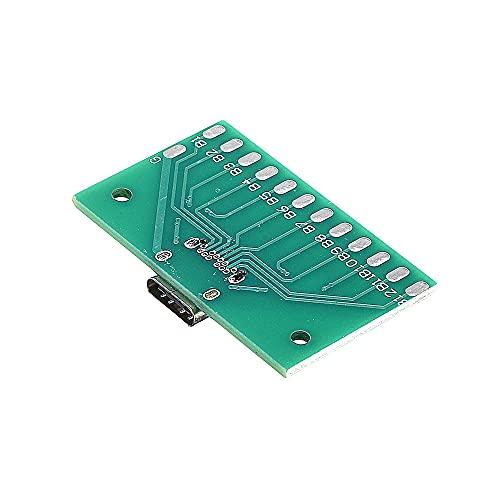 Módulo electrónico TIPO-C del tablero de prueba hembra del USB 3.1 con adaptador de conector de PCB 24P Mujer Por La medición de conducción de corriente 3pcs Equipo electrónico de alta precisión