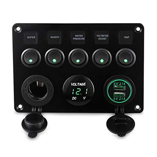 XXYHYQHJD 5 Gang, a Prueba de Agua Interruptor Barco disyuntor 12v Panel de Encendido y Apagado de Circuito del Panel Interruptor oscilante Yate Dual del Coche del USB del zócalo del voltímetro